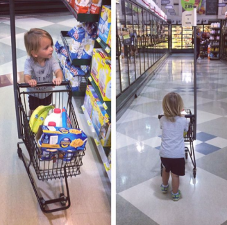 Helping Mommy at the Grocery Store (Summer 2017)