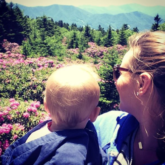 Mommy and Jase atop Roan Mountain looking over the gardens of Catawba Rhododendron. (June 2016)