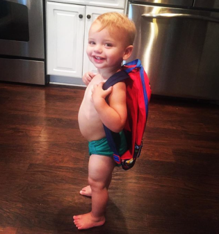 Jase was excited to have a BIG BOY backpack!